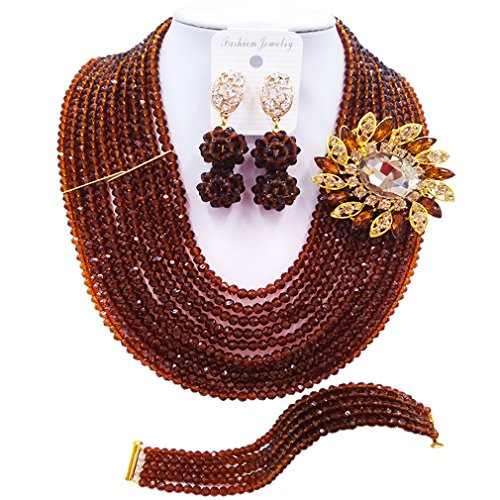 Blushing Bride Costumes (laanc 10 Rows Fashion Costume African Beads Jewelry Set Nigerian Wedding Bridal Jewelry Sets for Women (Brown))