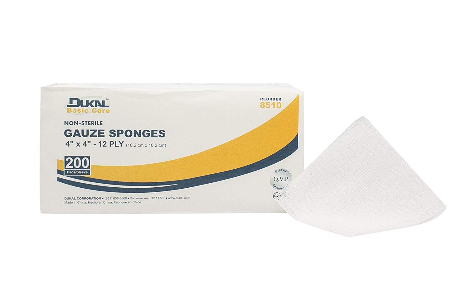 Dukal 8510 Gauze Sponge, Basic, 12-Ply, Non Sterile, 4'' x 4'' (Pack of 2000) by Dukal