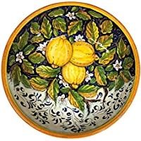 CERAMICHE D'ARTE PARRINI - Italian Ceramic Serving Bowl Centerpieces Decorated Lemons Hand Painted Art Pottery Dishware Made in ITALY Tuscan