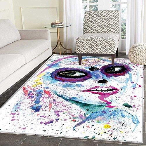 Girls Area Mat Carpet Grunge Halloween Lady with Sugar Skull Make Up Creepy Dead Face Gothic Woman Artsy Living Dining Room Bedroom Hallway Office Carpet 3'x5' Blue Purple ()