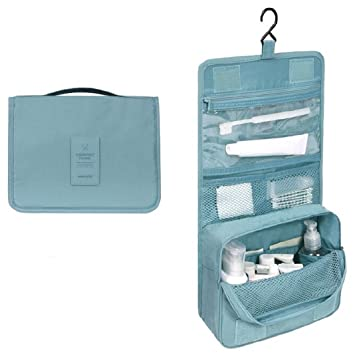 de4ceb6e85 Amazon.com   Portable Hanging Travel Toiletry Bag Large Capacity Waterproof  Wash Makeup Organizer Cosmetic Bag (Blue)   Beauty