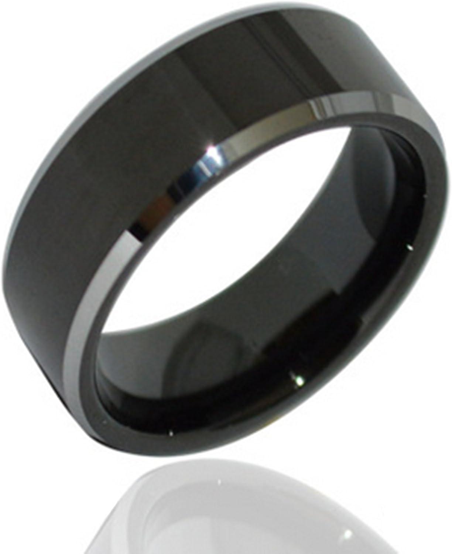 andeswf 8 mm negro tungsteno anillo de ajuste cómodo en platino banda de boda anillos de boda para hombres 6 ~ 13: Amazon.es: Joyería