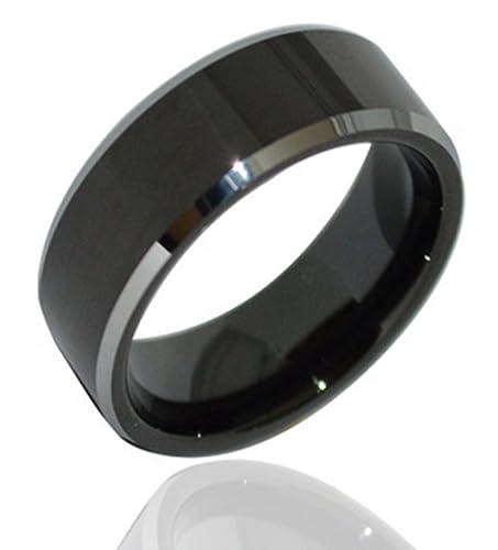 andeswf 8 mm negro tungsteno anillo de ajuste cómodo en platino banda de boda anillos de