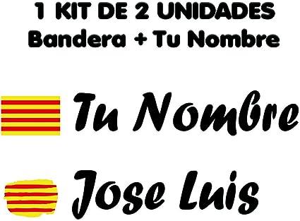 Pegatina Vinilo Bandera Cataluña + tu Nombre - Bici, Casco, Pala ...