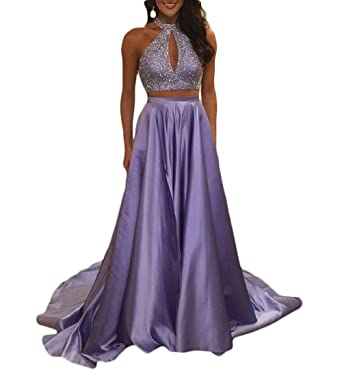TbDesses Two Pieces Prom Dresses A Line High Neck Sparkly Beads Formal Evening Gowns