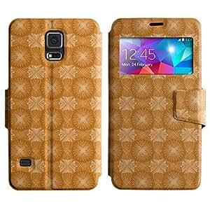 LEOCASE modelo anaranjado Funda Carcasa Cuero Tapa Case Para Samsung Galaxy S5 I9600 No.1002653