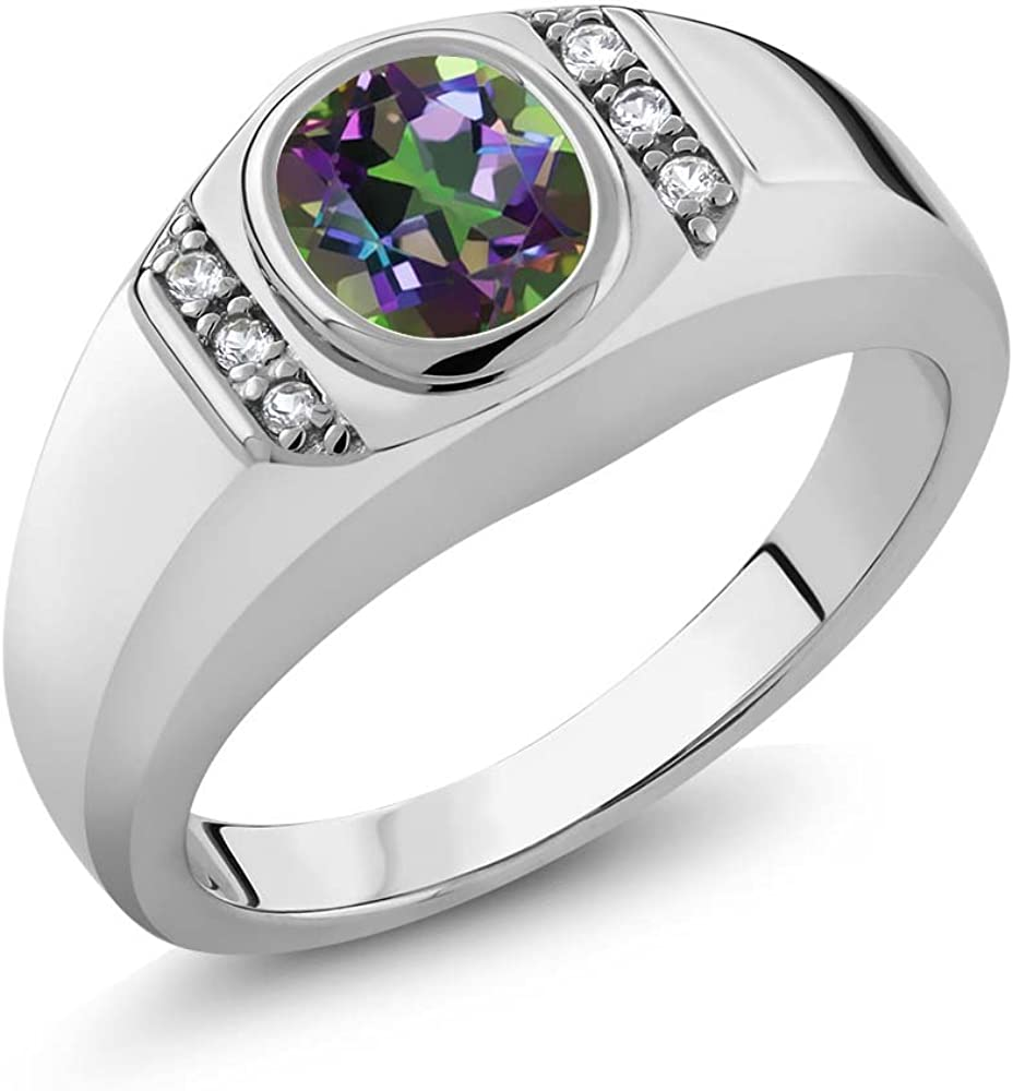 Gem Stone King Men's 925 Sterling Silver Green Mystic Topaz and White Created Sapphire Ring (1.36 Ct Available in size 7, 8, 9, 10, 11, 12, 13)