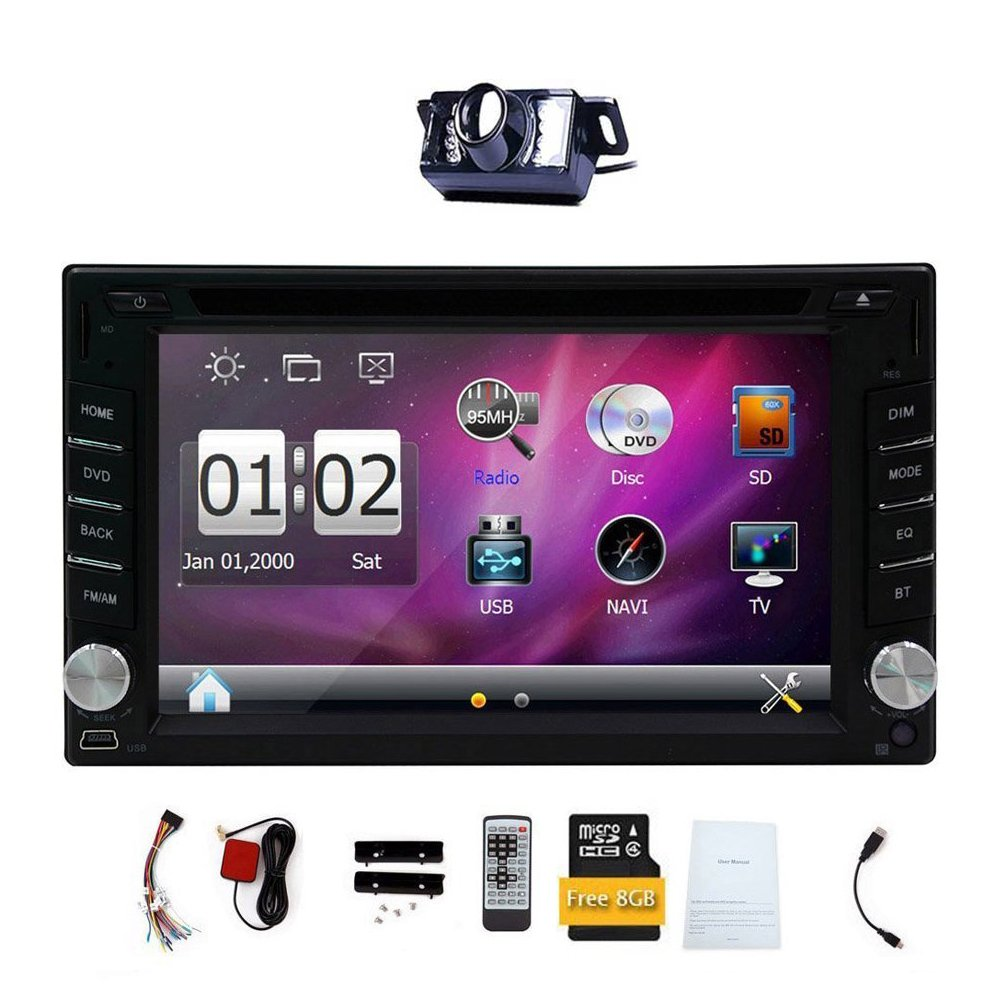 Upgarde Version With Camera ! 6.2'' Double 2 DIN Car DVD CD Video Player Bluetooth GPS Navigation Digital Touch Screen Car Stereo Radio Car PC 800MHZ CPU !!!