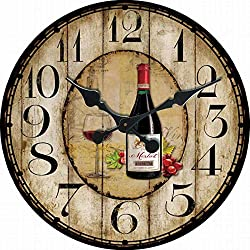 Karen R Ortega Red Cup Wine Round Wall Clock Rustic Country Shop Vintage Design Rustic Home Themed Wooden Wall Clock 14 inch