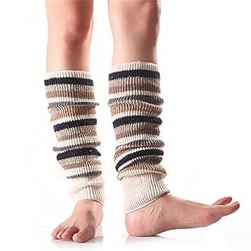 Yosemite calcetines de las mujeres niñas invierno rayas calentadores de ganchillo para calcetines, beige