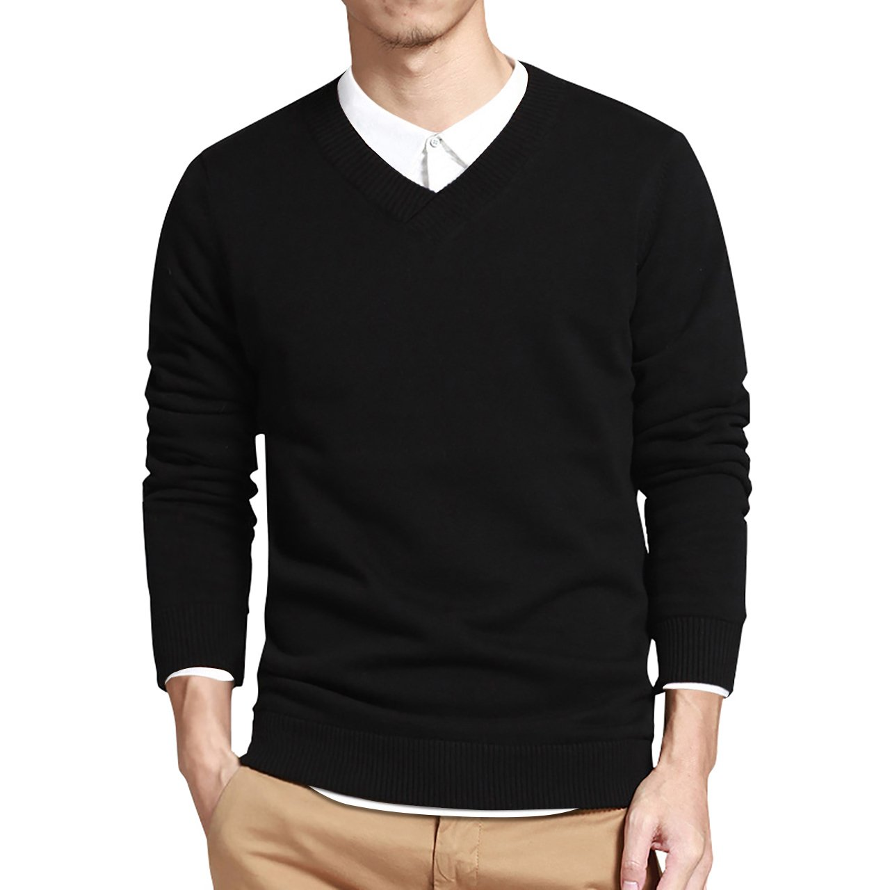 LTIFONE Mens Slim Comfortably Knitted Long Sleeve V-Neck Sweaters (Black,L) by LTIFONE (Image #1)