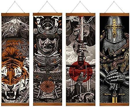 LJFYXZ Cuadro en Lienzo Maquinaria de Estructura de Hierro Pintura de decoración de Pared Vinoteca/Tienda de Tatuajes Colgar Cuadros Pergamino Colgante de Madera Maciza Juego de 4 Piezas