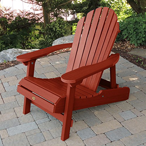 Highwood Hamilton Folding and Reclining Adirondack Chair, Adult Size, Rustic Red