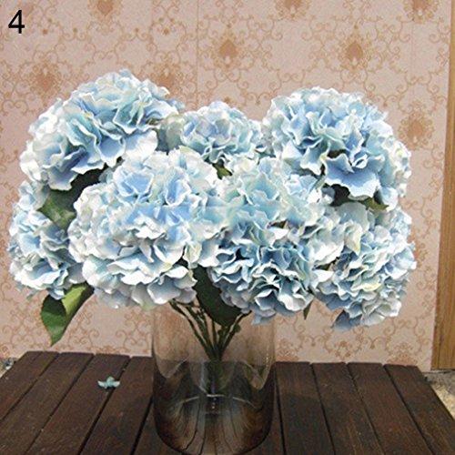 Alcyoneus Artificial Fake Peony Silk Flower Bridal Hydrangea Home Garden Wedding Decor (Blue)