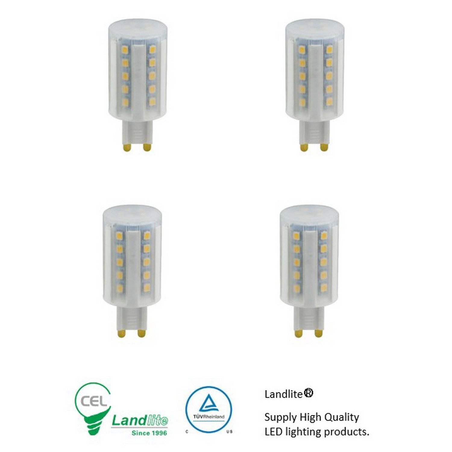 Landlite High Power Dimmable LED G9 replacement bulbs 120V 5W 4PKs Warmwhite 3000K