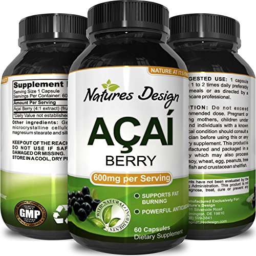 Acai Berry Concentrate (Acai Berry Concentrate Capsules – Antioxidant Dietary Supplement for Weight Management + Digestive Support + Increase Energy – Anti-Aging Vitamins + Minerals + Antioxidants - By Natures Design)