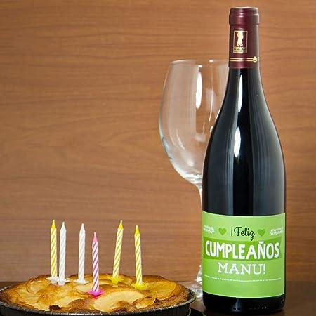 Calledelregalo Regalo de cumpleaños Personalizable para Hombre: Botella de Vino Personalizada con vuestros Nombres
