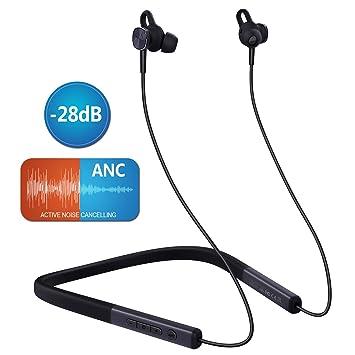Auriculares Bluetooth 5.0 MYCARBON Auriculares con Cancelación Activa de Ruido (ANC) Audífonos Inalámbricos Cuello con Estéreo Cascos Magnéticos ...