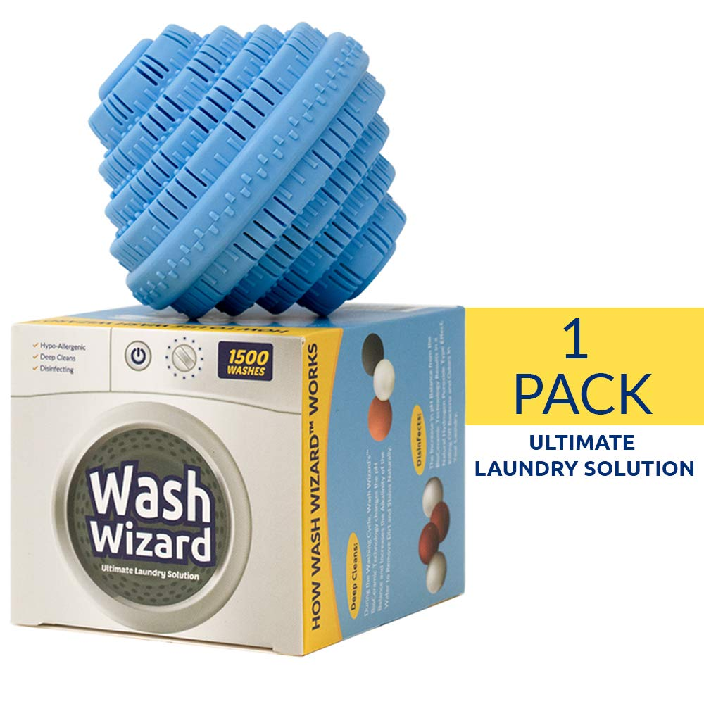 Wash Wizard - Laundry Ball - Top Rated Eco Friendly Washer Ball - Reusable 1000 Washes - Chemical Free - Detergent Alternative & Replacement (1-Pack) by Wash Wizard