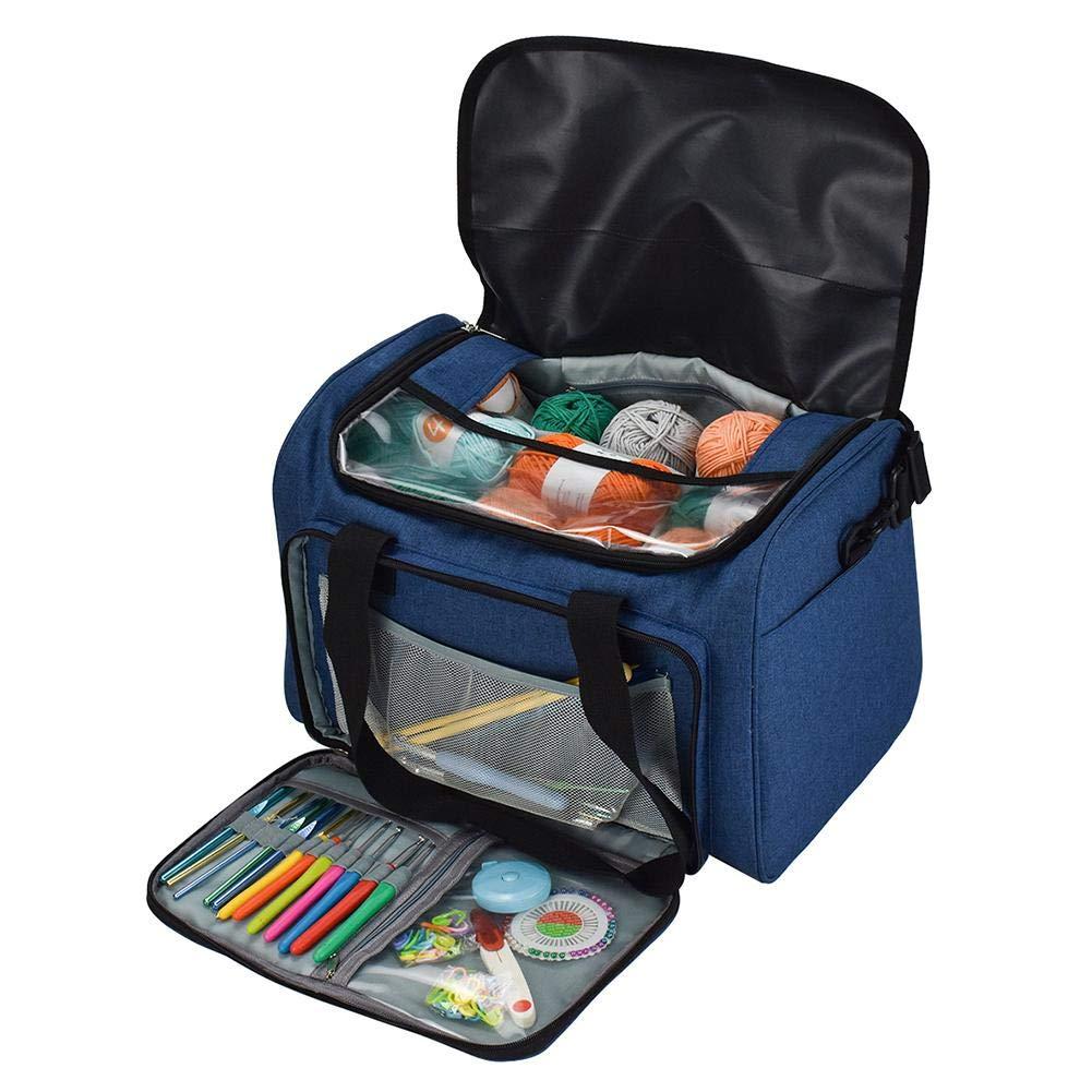 blue--net Yarn Storage Tote Knitting Bag, Portable Light Travel Yarn Storage Tote Bag Crocheting Supplies Organizer & WIP Project Holder for Crochet Hooks & Knitting Needles Kit