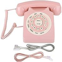DAUERHAFT Vintage Telephone Pink Vintage Teléfono con Cable, para el hogar, para la Oficina