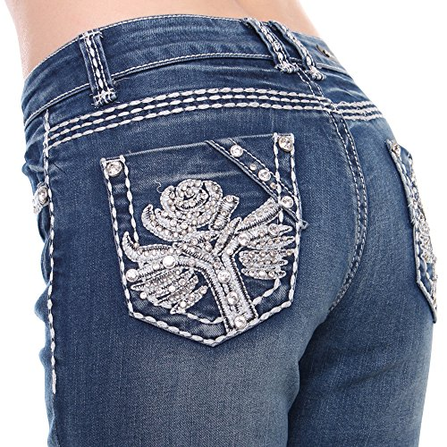 Sexy Couture Women's S96-PB Mid Rise Flare Bottoms Boot Cut Jeans ...
