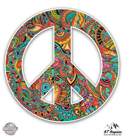 - Floral Pattern Peace Sign - 3