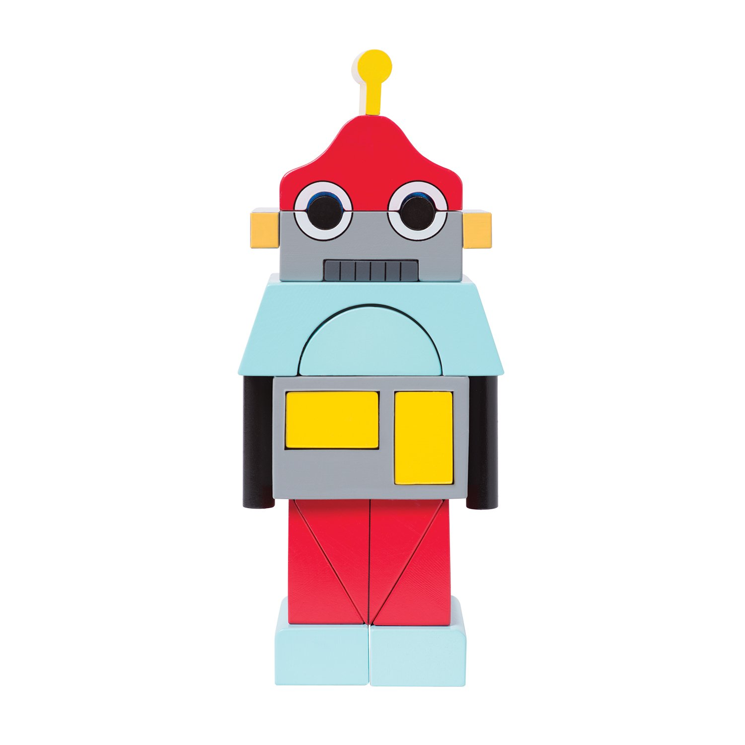 Manhattan Toy Beep The Robot Magnetic Wooden Stacking Block Puzzle