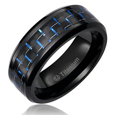 8MM Mens Titanium Ring Wedding Band Black Plated With Black And Blue Carbon  Fiber Inlay [
