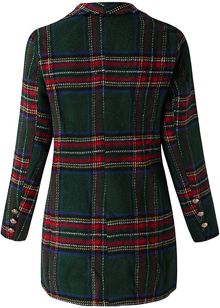 Womens Tweed Blazers Plaid Braided Tape Frayed Trim Double Breasted Tweed Jacket Women Work Petite Blazers JHKUNO