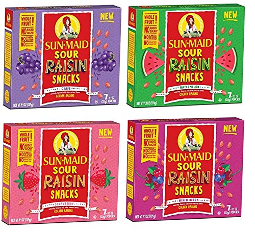 Sun Maid Sour Raisins Variety Pack - 4 Total Boxes Including Sour Grape, Sour Watermelon, Mixed Berry and Strawberry - Great Value