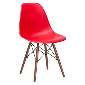 Remarkable Poly And Bark Vortex Modern Mid Century Side Chair With Wooden Walnut Legs For Kitchen Living Room And Dining Room Red Beatyapartments Chair Design Images Beatyapartmentscom