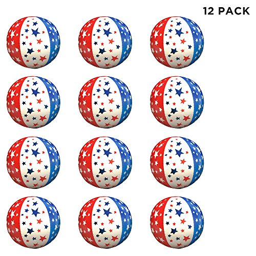 Windy City Novelties (12 Pack) Patriotic Stars & Stripes Theme Inflatable Beach Balls 16 inch ()