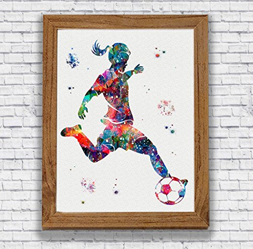 Soccer Player Girl Watercolor Print Sports Wall Decor Girl's Room Artworks Kid's Room Decor Wall Art Home Decor Soccer Player Gift
