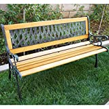 Belleze Outdoor Garden Bench Path Porch Patio Seat Cast Iron Hardwood