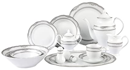 Lorenzo Import Victoria 57-Piece Wavy Porcelain Dinnerware Set  sc 1 st  Amazon.com & Amazon.com: Lorenzo Import Victoria 57-Piece Wavy Porcelain ...