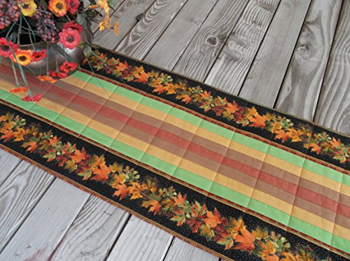 Fall Leaves Quilted Fabric Table Runner or Sideboard Runner 55 inches