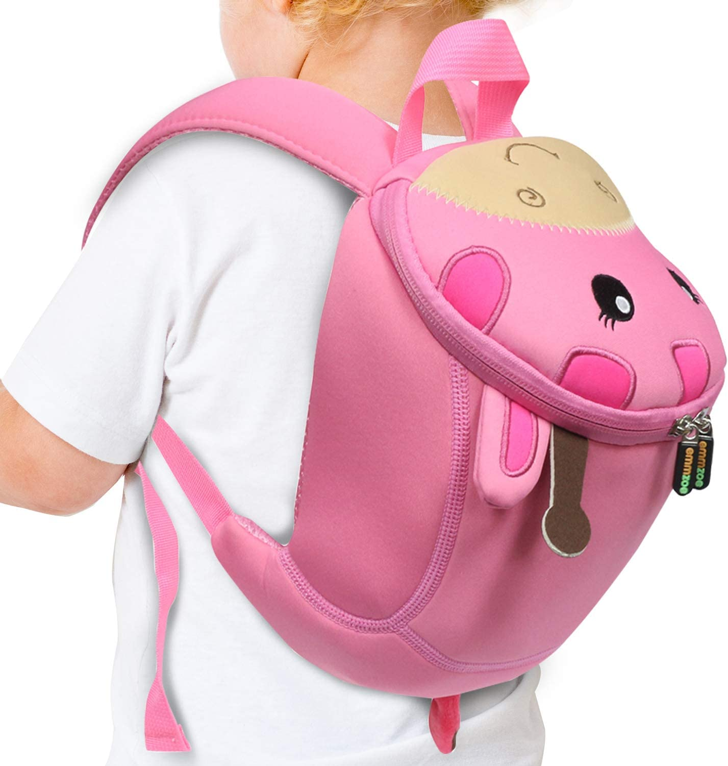 Emmzoe Toddler 3D Animal Backpack with Detachable Safety Harness Leash - Lightweight, Water Resistant, Adjustable - Fits Snacks, Food, Toys (Pink Giraffe)