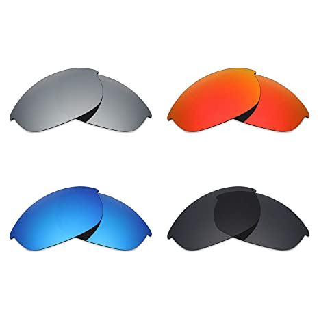 86e7a7ac52 Image Unavailable. Image not available for. Color  Mryok 4 Pair Polarized  Replacement Lenses for Oakley Half Jacket Sunglass - Stealth Black Fire
