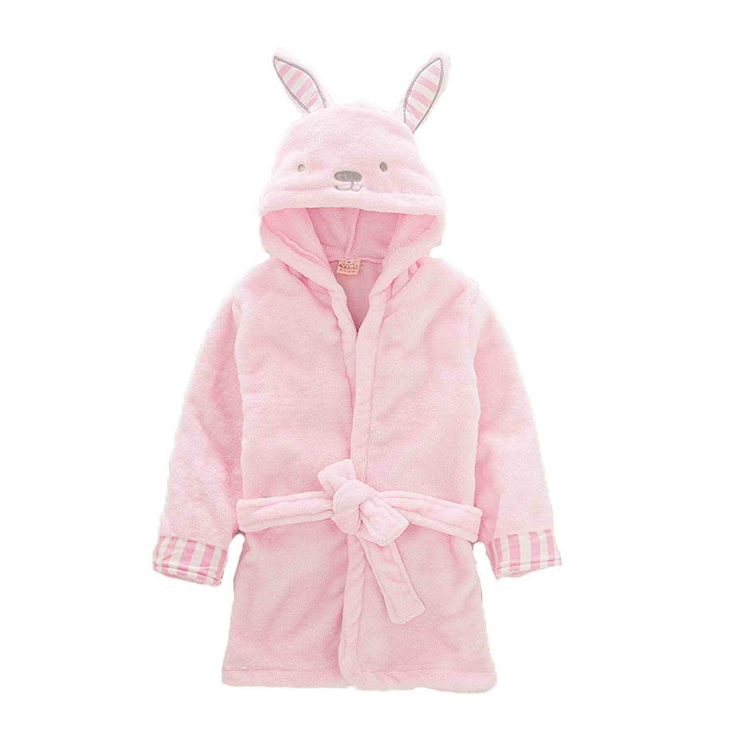 Plush Hooded Robe for Kids Soft Fleece Animal Bathrobe Sleepwear Pajamas for Toddler Girls and Boys 2-6T