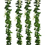 Beebel Artificial Vines Jungle Vine Fake Plants Ivy Greenery leaves Garland Hanging Vine for Jungle Vines Party Décor