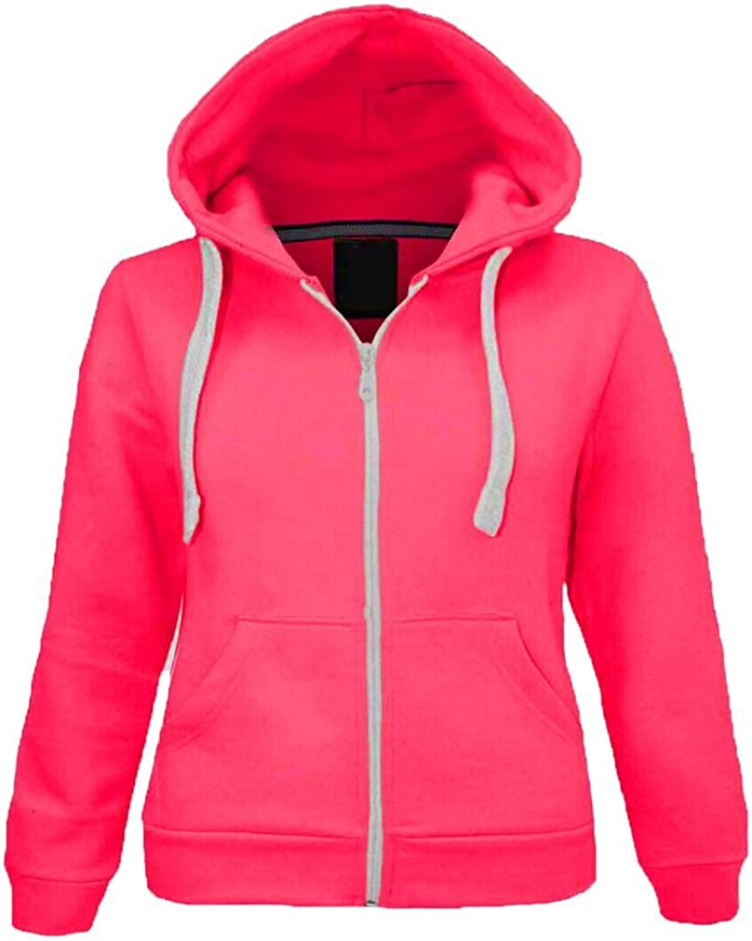 Kids Hoodie Girls /& Boys Unisex Plain Zipper Fleece Zip Up Style Age 2-13 Years