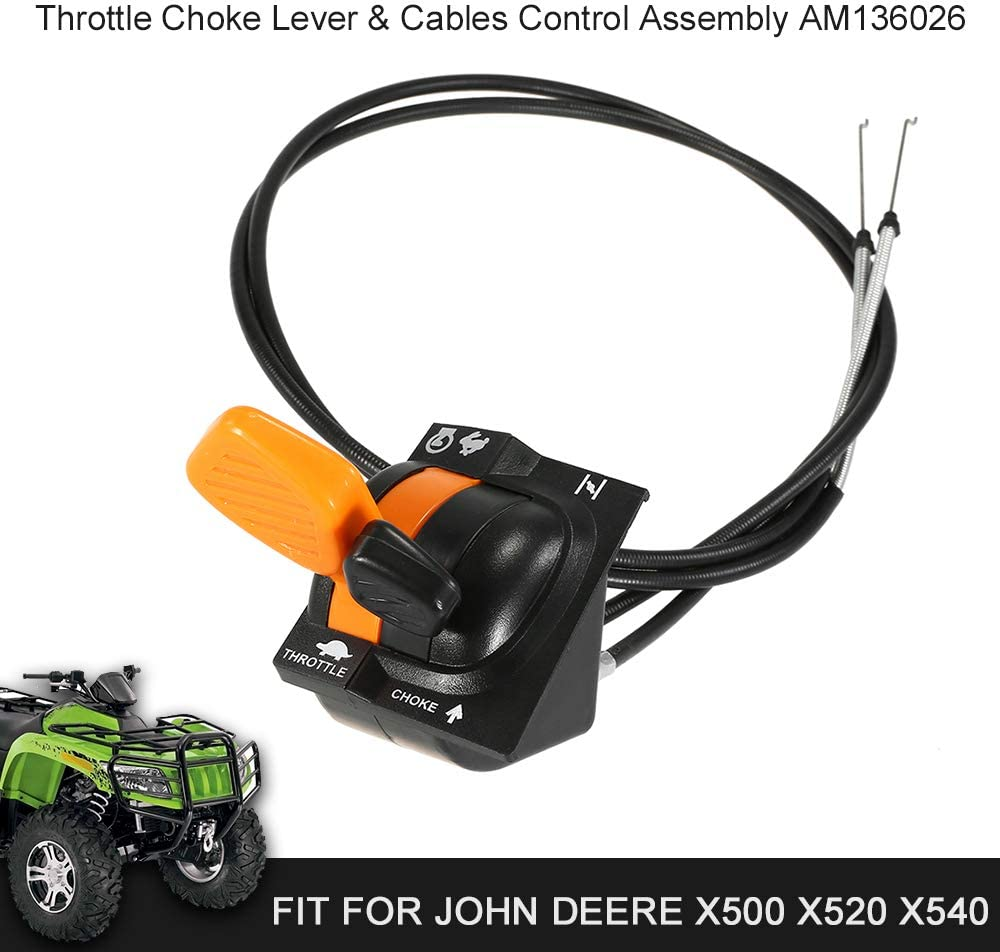 Throttle Choke Cable Control Assembly Throttle Choke Lever /& Cables Control Assembly AM136026 Fit for John Deere X500 X520 X540