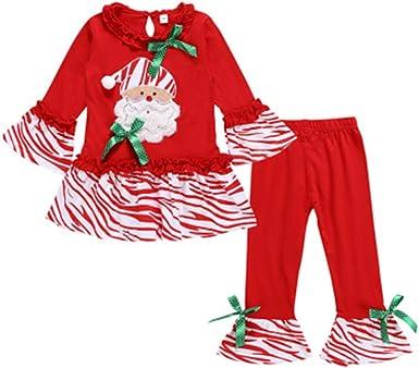 ADKYTemporada de Navidad Camisa roja de Manga Larga con Bordado de Santa Pantalones Acampanados de Tres Piezas: Amazon.es: Ropa y accesorios