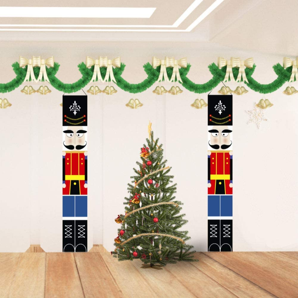 Christmas Decorations Outdoor Xmas Decor Soldier Model Porch Sign Nutcracker Banners for Front Door Garden Indoor Exterior Kids Party