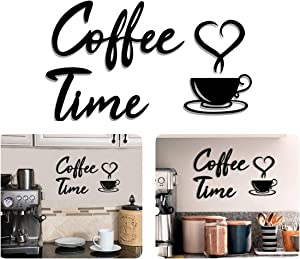 4eN Coffee Time Modern Wall Decor for Kitchen and Cafe, Wooden Coffee Station Sign with Double-Sided Tape, Coffee Time Wall Art, Coffee Bar and Wall Sign, MDF