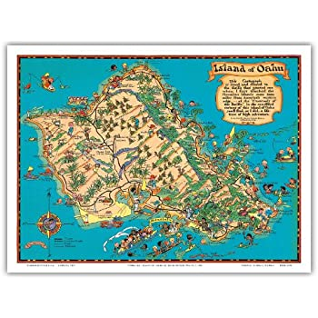 photo about Oahu Map Printable referred to as : Hawaiian Island of Oahu Map - Classic Hawaiian