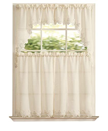 GoodGram Orchard Luxurious Matte Sheer & Macrame Kitchen Curtain Tier &  Swag Set Assorted Colors (Beige)