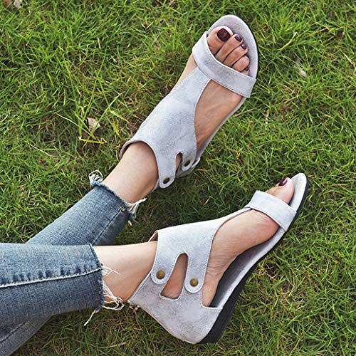 802abd366204 VonVonCo Women's Ladies Leisure Solid Rome Peep Toe Large Size Flat Sandals  Shoes Grey