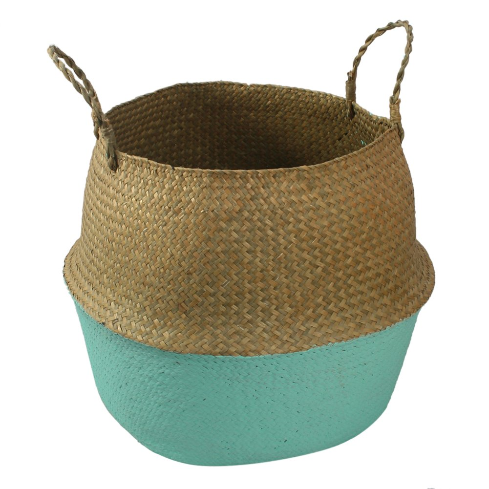 PROKTH Hand-Woven Foldable Storage Basket, Hand-Knotted Natural Seagrass Belly Basket Oganizer for Dirty Clothes/Fruit/Toys/Plant Flower Pots